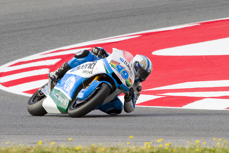 moto2: Axel Pons of Tuenti HP 40 team racing at Moto2 Grand Prix of Catalunya, on June 16, 2013 in Montmelo, Barcelona, Spain Editorial