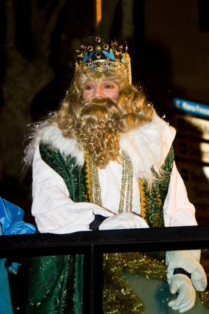 Gaspar King at the Biblical Magi Three Kings parade, who give toys to the children  Is a traditional spanish celebration  January 5, 2012 in Alella, Barcelona, Spain