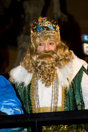caspar: Caspar King at the Biblical Magi Three Wise Men parade, who give toys to the children  Is a traditional spanish celebration  January 5, 2012 in Alella, Barcelona, Spain