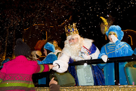melchor: Melchior King at the Biblical Magi Three Wise Men parade, who give toys to the children  Is a traditional spanish celebration  January 5, 2012 in Alella, Barcelona, Spain Editorial