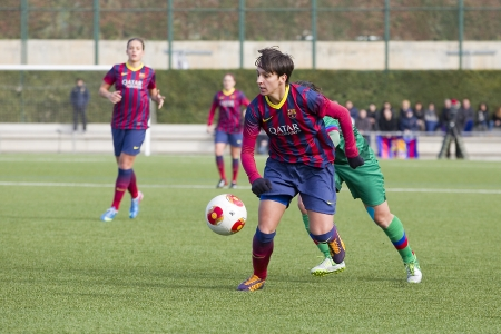 marta: Marta Corredera of FCB in action at Superliga - Women s Football Spanish League - match between FC Barcelona and Levante UD, 1-0, on December 21, 2013, in Barcelona, Spain