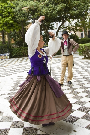 promulgated: Couple dancing a traditional dance during the commemoration of the first Spanish constitution, promulgated in Cadiz on March 19, 1812 Editorial