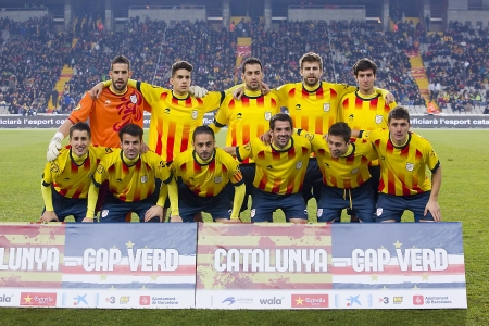Catalonia players before the friendly football match between Catalonia and Cape Verde, 4-1, on December 30, 2013, in Barcelona, Spain