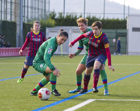Some players in action at Superliga - Women s Football Spanish League - match between FC Barcelona and Levante UD, 1-0, on December 21, 2013, in Barcelona, Spain
