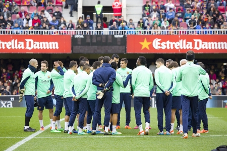 Some players in action at FC Barcelona team in open doors training session at Mini Estadi stadium, with 13,200 spectators, on January 3, 2014, in Barcelona, Spain
