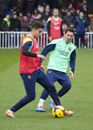 Lionel Messi in action at FC Barcelona team in open doors training session at Mini Estadi stadium, with 13,200 spectators, on January 3, 2014, in Barcelona, Spain