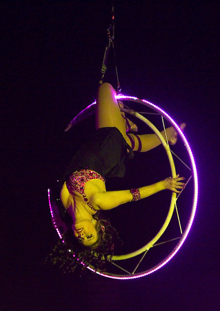 Unidentified acrobat woman performs during the new spectacle of Raluy Circus, on January 1, 2014 in Barcelona, Spain