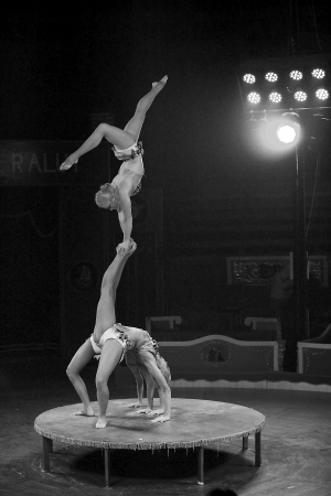 Unidentified acrobat women perform during the new spectacle of Raluy Circus, on January 1, 2014 in Barcelona, Spain