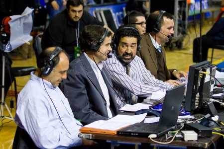 Some journalists working at the Euroleague basketball match between FC Barcelona and Maccabi Electra, final score 70-67, on February 29, 2012, in Barcelona, Spain