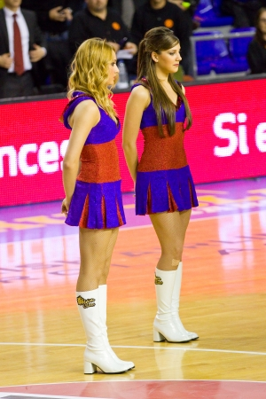 maccabi: Cheerleaders at the Euroleague basketball match between FC Barcelona and Maccabi Electra, final score 70-67, on February 29, 2012, in Barcelona, Spain Editorial