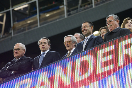 josep: Josep Maria Bartomeu, with grey and blue tie, president of FCB, at Spanish league match between FC Barcelona and Malaga CF, 3-0, on January 26, 2014, in Barcelona, Spain