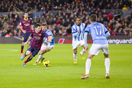 lionel: Lionel Messi of FCB in action at Spanish league match between FC Barcelona and Malaga CF, final score 3-0, on January 26, 2014, in Barcelona, Spain