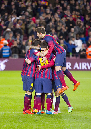 FCB players celebrate a goal at Spanish league match between FC Barcelona and Malaga CF, final score 3-0, on January 26, 2014, in Barcelona, Spain