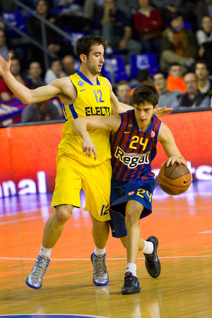 maccabi: Josep Perez in action at the Euroleague basketball match between FC Barcelona and Maccabi Electra, final score 70-67, on February 29, 2012, in Barcelona, Spain
