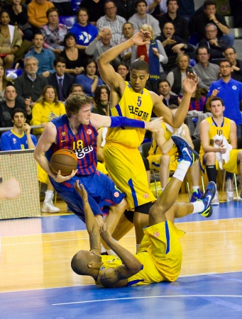 maccabi: Charles Wallace in action at the Euroleague basketball match between FC Barcelona and Maccabi Electra, final score 70-67, on February 29, 2012, in Barcelona, Spain Editorial