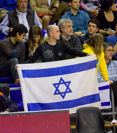 maccabi: Unidentified supporters at the Euroleague basketball match between FC Barcelona and Maccabi Electra, final score 70-67, on February 29, 2012, in Barcelona, Spain