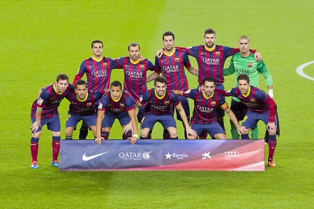 xavi: FCB players posing for photos before the Spanish league match between FC Barcelona and Malaga CF, final score 3-0, on January 26, 2014, in Barcelona, Spain Editorial