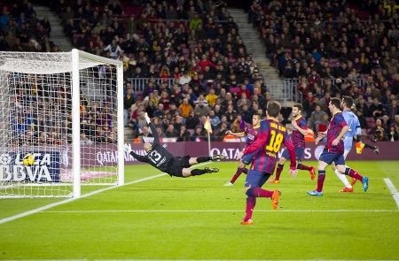 willy: Alexis Sanchez scores a goal at Spanish league match between FC Barcelona and Malaga CF, final score 3-0, on January 26, 2014, in Barcelona, Spain