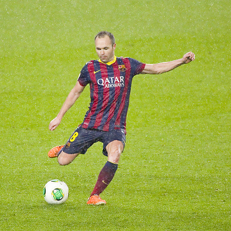 iniesta: Andres Iniesta of FCB in action at Copa del Rey - Spanish Cup - match between FC Barcelona and Levante, 5-1, under an intense rain, on January 29, 2014, in Barcelona, Spain Editorial