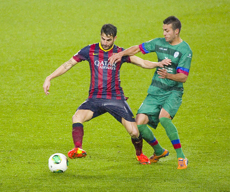 Cesc Fabregas of FCB in action at Copa del Rey - Spanish Cup - match between FC Barcelona and Levante, 5-1, under an intense rain, on January 29, 2014, in Barcelona, Spain