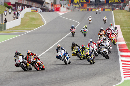 Some motorcycle riders compete at the race of Moto 2 Grand Prix of Catalunya, on June 3, 2012 in Barcelona, Spain Redakční