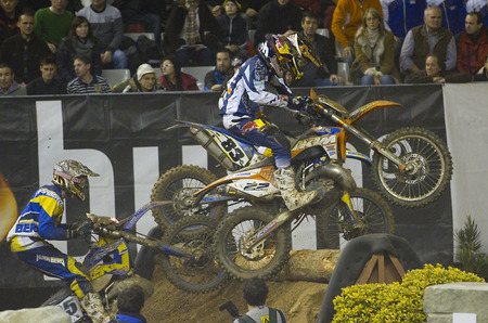 Unidentified riders racing at FIM SuperEnduro World Championship, on February 5, 2012, in Palau Sant Jordi stadium, Barcelona, Spain  The winner was Taddy Blazusiak of KTM