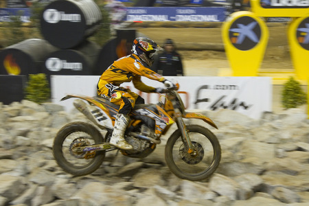 Taddy Blazusiak of KTM racing at FIM SuperEnduro World Championship, on February 5, 2012, in Palau Sant Jordi stadium, Barcelona, Spain  He wins the race