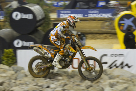 Cristobal Guerrero racing at FIM SuperEnduro World Championship, on February 5, 2012, in Palau Sant Jordi stadium, Barcelona, Spain  The winner was Taddy Blazusiak of KTM