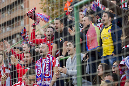Atletico unidentified supporters at Spanish Cup match between Sant Andreu and Atletico de Madrid, final score 0-4, on December 7, 2013, in Barcelona, Spain
