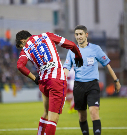 Diego Costa of Atletico in action at Spanish Cup match between Sant Andreu and Atletico de Madrid, final score 0-4, on December 7, 2013, in Barcelona, Spain