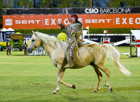 Jean Marc Imbert performs during a horse exhibition at the CSIO 100th International Jumping Competition, on September 23, 2011, in Real Club de Polo, Barcelona, Spain Editorial