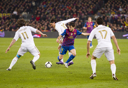Cesc Fabregas of FCB in action at the Spanish Cup match between FC Barcelona and Real Madrid, final score 2 - 2, on January 25, 2012, in Barcelona, Spain