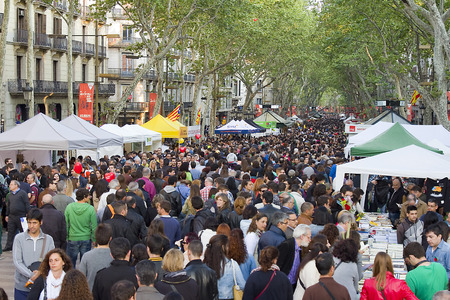 Diada de Sant Jordi or Saint George s Day, a famous Catalan celebration, on April 23, 2013, in Barcelona, Spain  Traditionally, men gave women roses, and women gave men a book