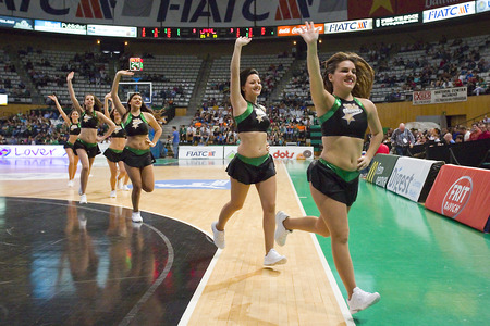 Cheerleaders perform at Spanish Basketball League match between Joventut and Zaragoza, final score 82-57, on April 13, 2014, in Badalona, Spain