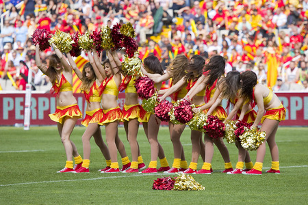 USAP cheerleaders perform at rugby Top14 french league match between USAP Perpignan and Toulon, final score 31-46, on April 19, 2014, in Barcelona Olympic stadium, Spain