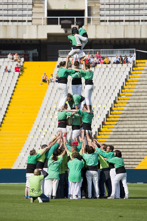 Human tower before the rugby Top14 french league match between USAP Perpignan and Toulon, final score 31-46, on April 19, 2014, in Barcelona Olympic stadium, Spain