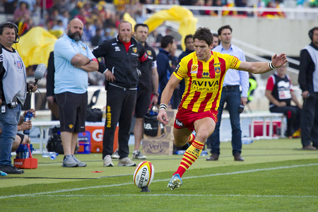 toulon: James Hook of USAP in action at rugby Top14 french league match between USAP Perpignan and Toulon, final score 31-46, on April 19, 2014, in Barcelona Olympic stadium, Spain