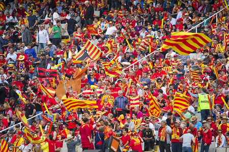 Some USAP supporters in action at rugby Top14 french league match between USAP Perpignan and Toulon, final score 31-46, on April 19, 2014, in Barcelona Olympic stadium, Spain
