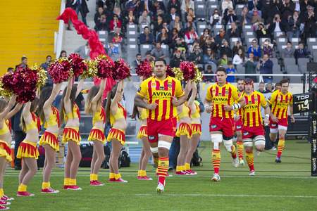 USAP players before the rugby Top14 french league match between USAP Perpignan and Toulon, final score 31-46, on April 19, 2014, in Barcelona Olympic stadium, Spain