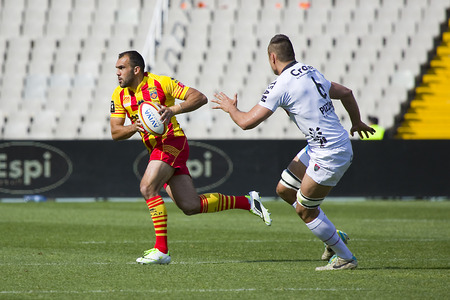 toulon: David Marty in action at rugby Top14 french league match between USAP Perpignan and Toulon, final score 31-46, on April 19, 2014, in Barcelona Olympic stadium, Spain