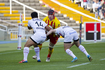 toulon: Some players in action at rugby Top14 french league match between USAP Perpignan and Toulon, final score 31-46, on April 19, 2014, in Barcelona Olympic stadium, Spain