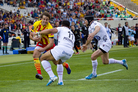Joffrey Michel of USAP in action at rugby Top14 french league match between USAP Perpignan and Toulon, final score 31-46, on April 19, 2014, in Barcelona, Spain