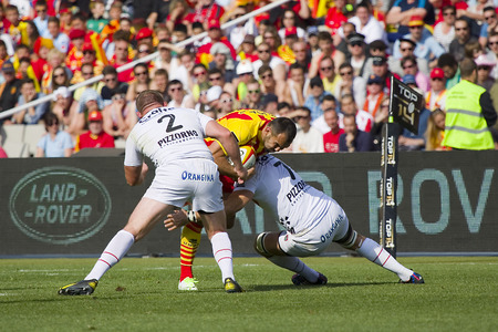 David Marty in action at rugby Top14 french league match between USAP Perpignan and Toulon, final score 31-46, on April 19, 2014, in Barcelona, Spain