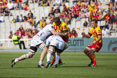 Wandile Mjekevu in action at rugby Top14 french league match between USAP Perpignan and Toulon, final score 31-46, on April 19, 2014, in Barcelona, Spain