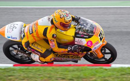 alberto: Alberto Moncayo de carreras del equipo Andaluc�a Banca C�vica en Moto 125 Gran Premio de Catalunya, el 5 de junio de 2011 en Barcelona, ??Espa�a