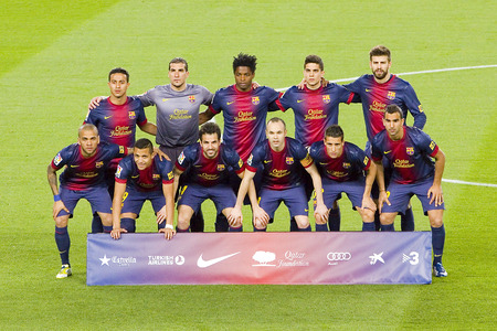 iniesta: FCB players posing for photos at Spanish league match between FC Barcelona and RDC Mallorca, final score 5-0, on April 6, 2013, in Barcelona, Spain