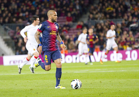 dani: Dani Alves in action at Spanish league match between FC Barcelona and RDC Mallorca, final score 5-0, on April 6, 2013, in Barcelona, Spain Editorial