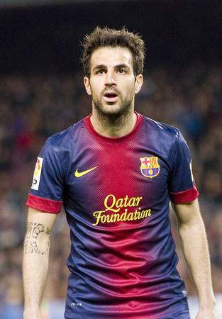 Cesc fabregas in action at Spanish league match between FC Barcelona and RDC Mallorca, final score 5-0, on April 6, 2013, in Barcelona, Spain