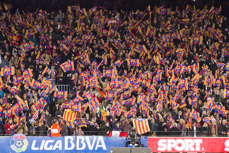Unidentified supporters at the Spanish League match between FC Barcelona and Atletico de Madrid, final score 4 - 1, on December 16, 2012, in Camp Nou, Barcelona, Spain