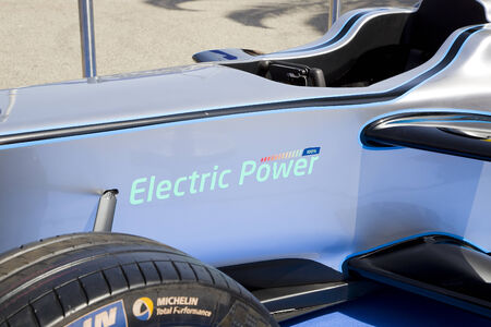 formulae: Formula E Spark Renault SRT 01E at 6to6 Barcelona Motordays, an automotive feast of supercars and luxury brands, on June 7, 2014, in Moll de la Fusta, Barcelona, Spain Editorial